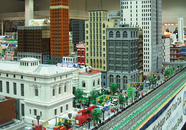 Lego City With Detroit Buildings At Nmra National Train Sh