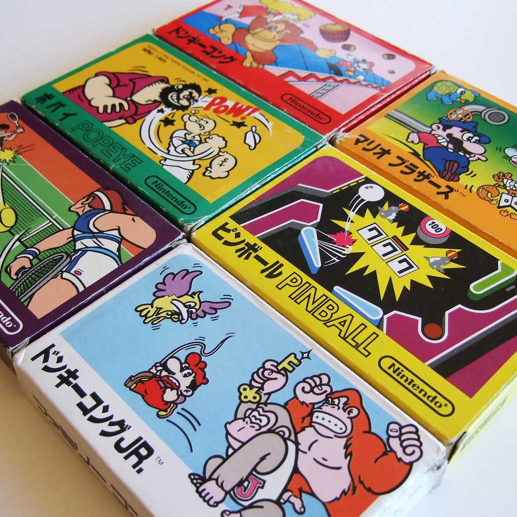 Famicom Game Boxes Clockwise From The Top Donkey Kong