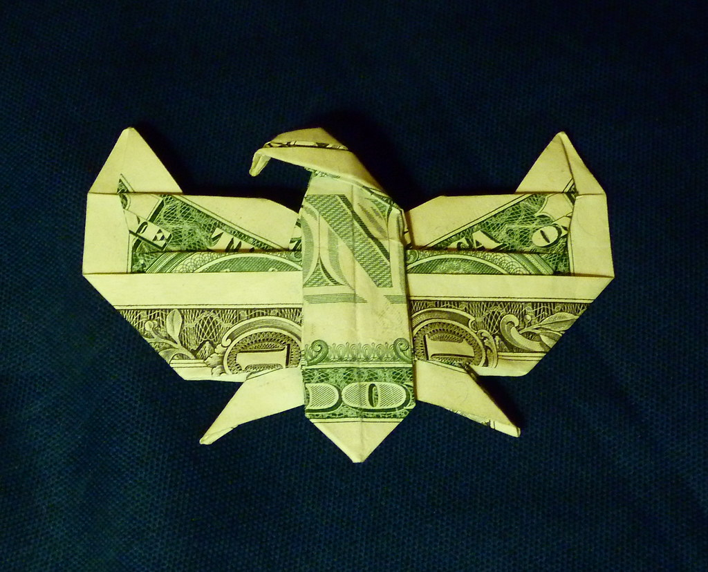 dollar eagle pin folded from a us 1 bill no cuts this