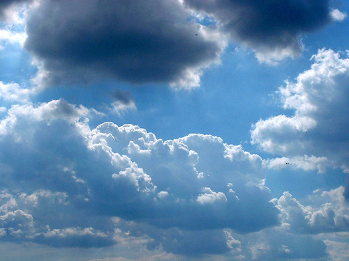 Blue sky with white fluffy clouds | by Dominic's pics