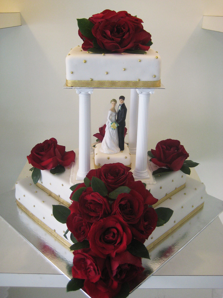 Square Red Rose Wedding Cakes