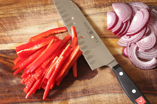 sliced onions & peppers | by Madison Bistro