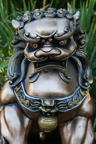 Chinese Foo Dog Statue Up Close View Of Chinese Foo Dog