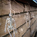little skeletons hanging from the mantel+halloween decorations