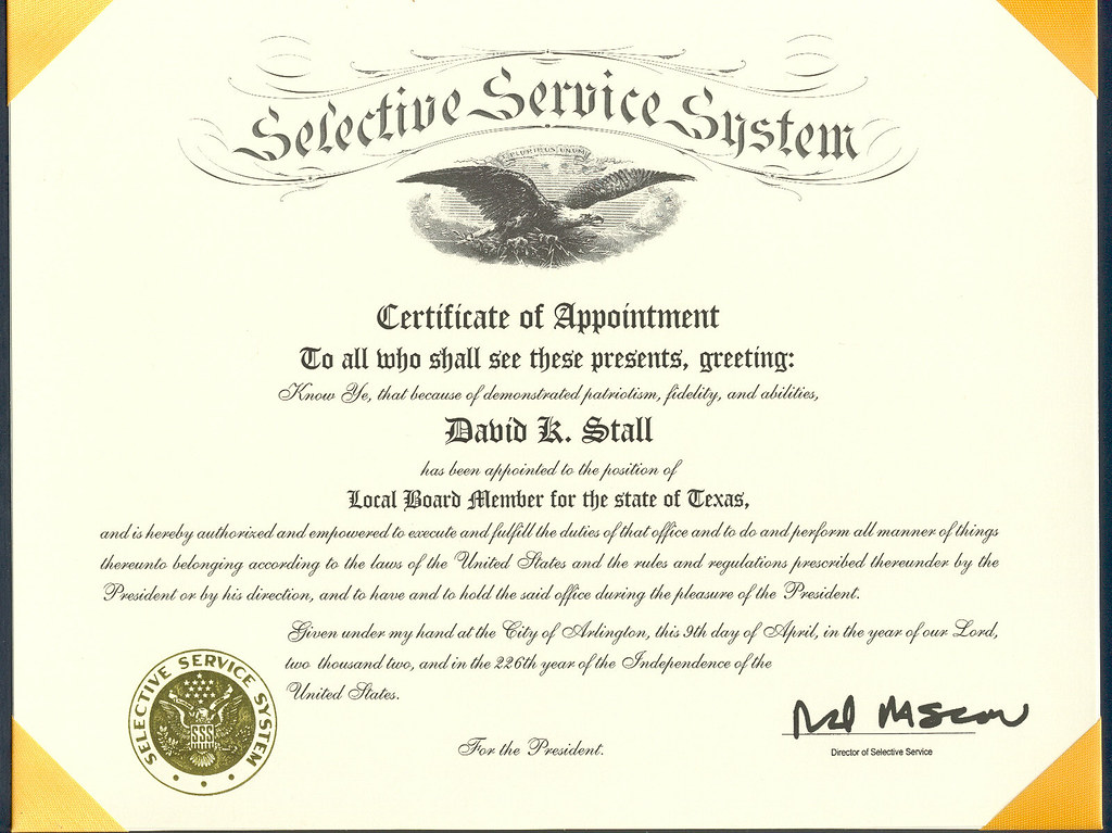 certificate appointment selective