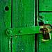 An old green door