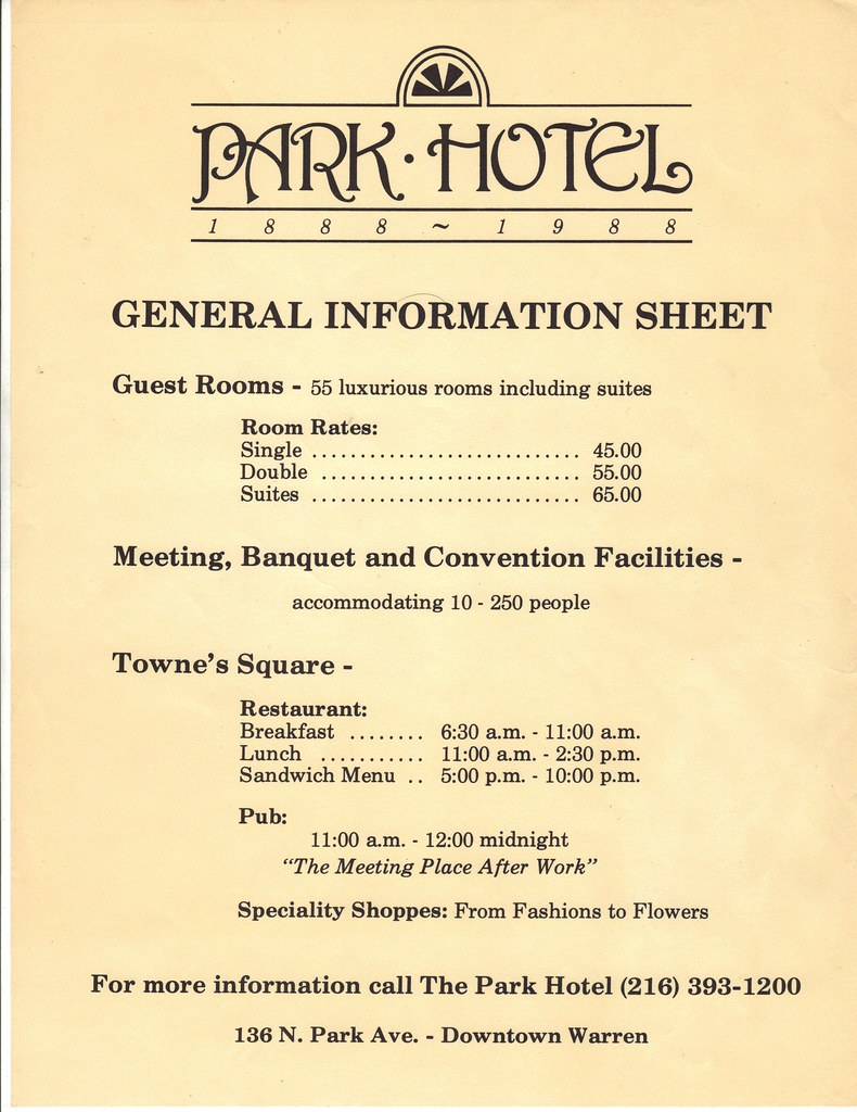 park hotel information sheet  circa 1989  warren  ohio