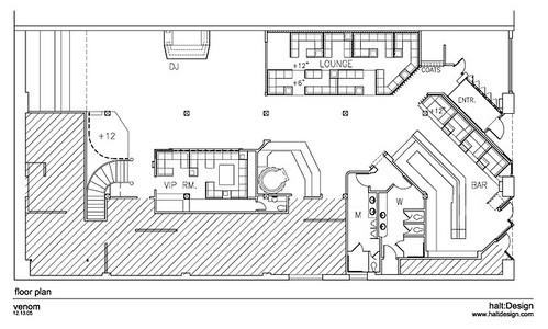 Venom nightclub floor plan by halt design for Nightclub floor plans