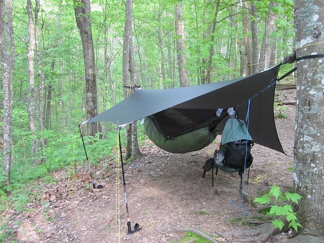 Backyard Hammock Setup : hammock setup with DIY tarp set up  Flickr  Photo Sharing!