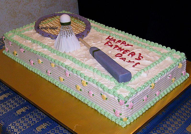 badminton cake handmade shuttlecock and racquet adorned
