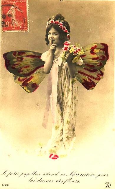 Vintage Postcard ~ Butterfly Girl | Vintage Postcard ...