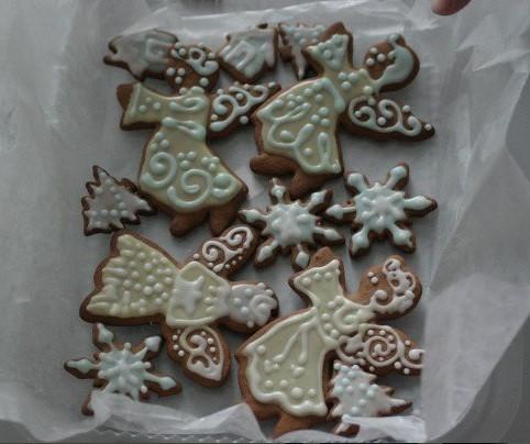 Iced Angel Snowflake Gingerbread Cookies Used Fresh