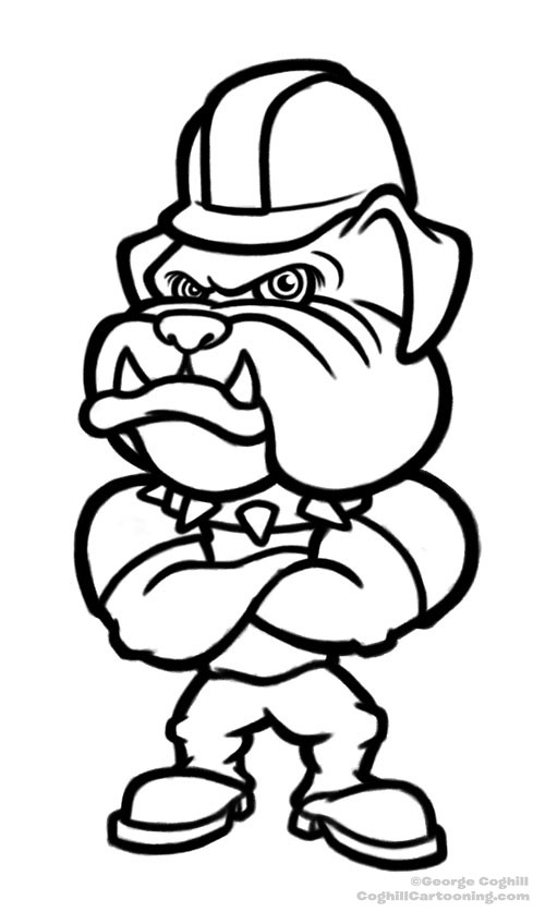 Cartoon Bulldog With Hard Hat Sketch