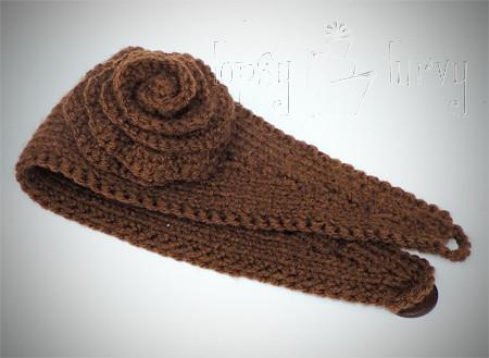 Yarn Knit Ear Warmer Headband Flower Crochet Ashlee