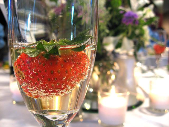 Strawberry Champagne Wedding Cake