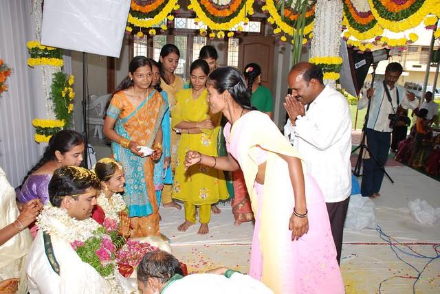 Friends greeting the newly married couple | Vijay & Swetha