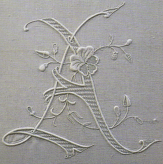 Embroidered initial from an old long out of print