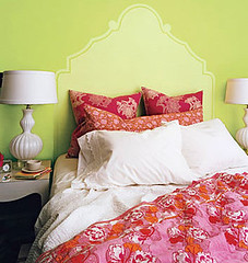 'Pear Green' by Benjamin Moore: Green bedroom + red accents | by SarahKaron