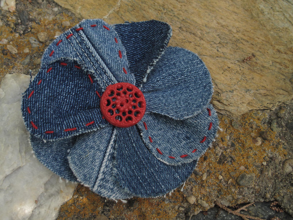 Denim Fabric Flower Pin Made Using Directions From A