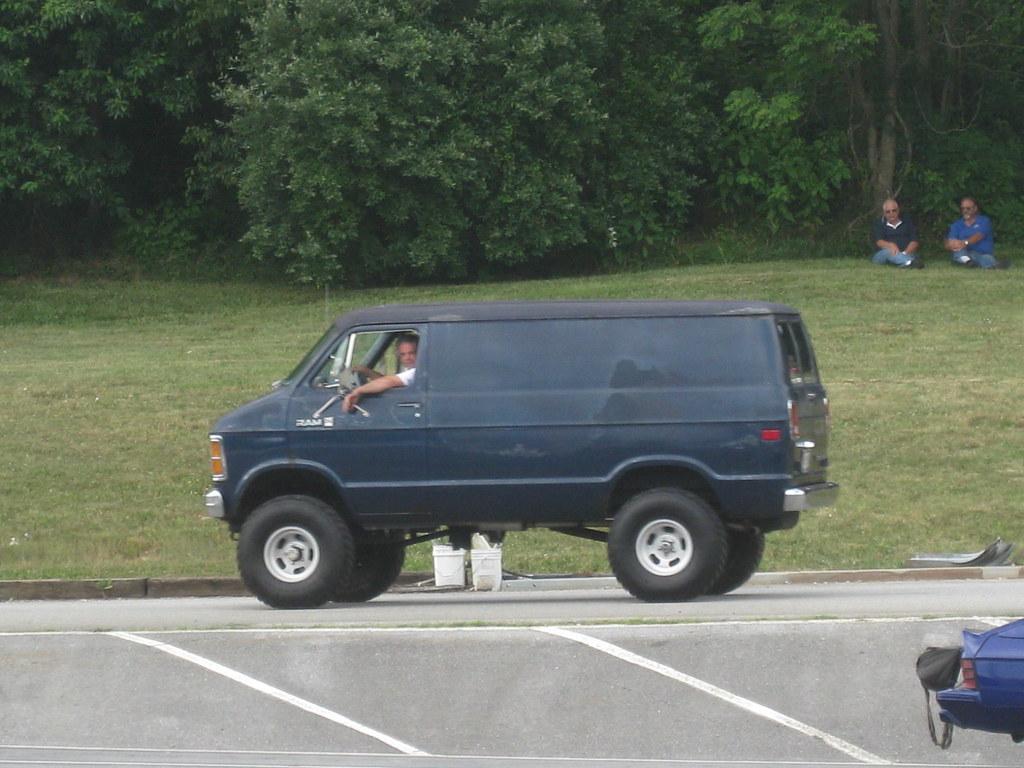 Lifted Dodge Van | Mopar Day at Mason-Dixon Dragway ...