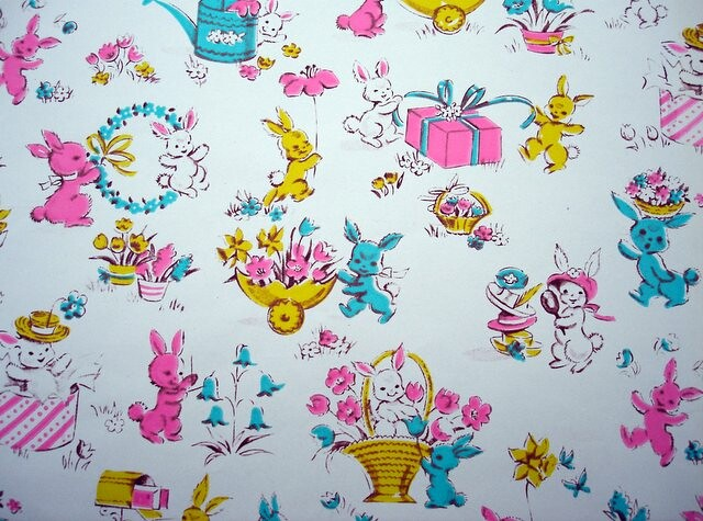 Vintage Easter Wrapping Paper With Bunnies Blempgorf