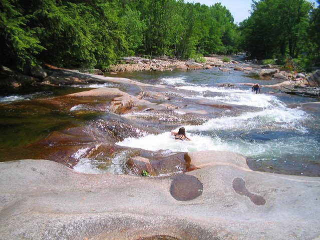 Natural Slide Swimming Hole At The Pemigewasset River In