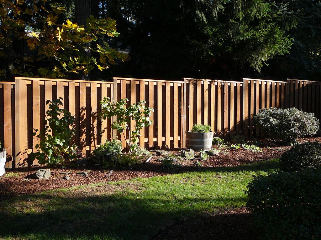 Cedar good neighbor fence with 2x4 cap for Good neighbor fence