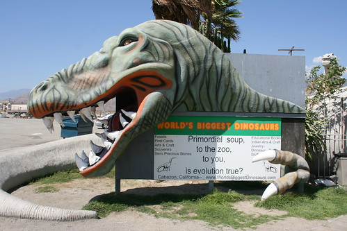 Cabazon Dinosaurs.  Sign at the entrance.  This current owner is a firm believer in creationism | by slworking2