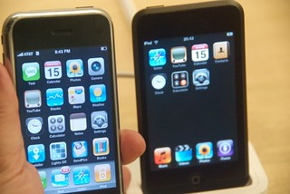 My hacked (for apps) iPhone & an iPod Touch at the Apple Store | by Steve Rhodes