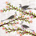 Whimsical Birds Collage Painting  on Vintage Book Pages Art by Sascalia