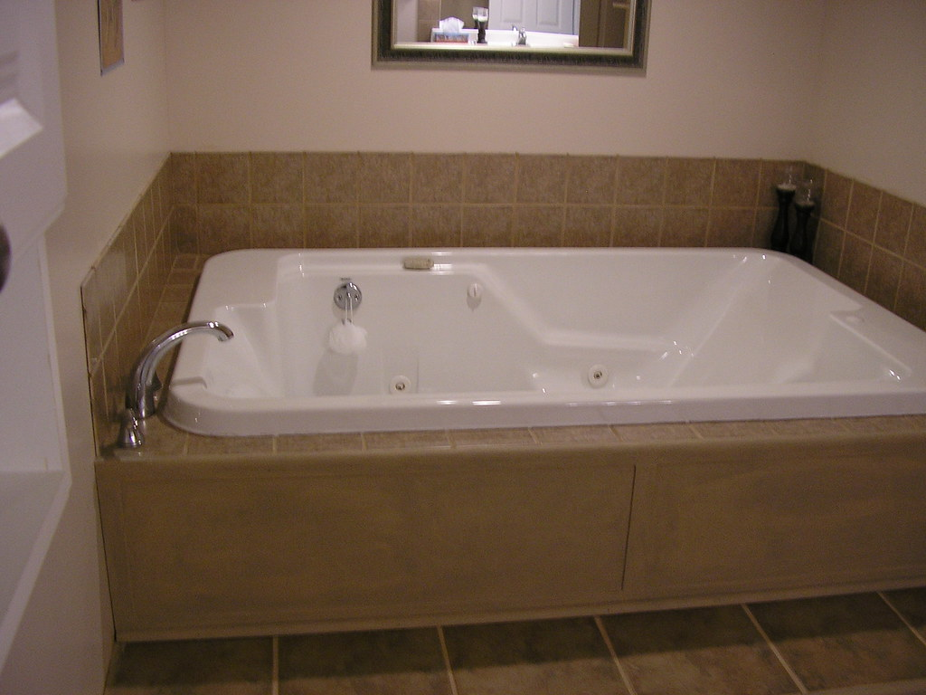 Jacuzzi Tub Two Person Jetted Tub Ceramic Tile On Floor
