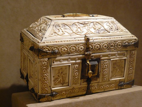 ivory and bone casket with warriors and dancers byzantine
