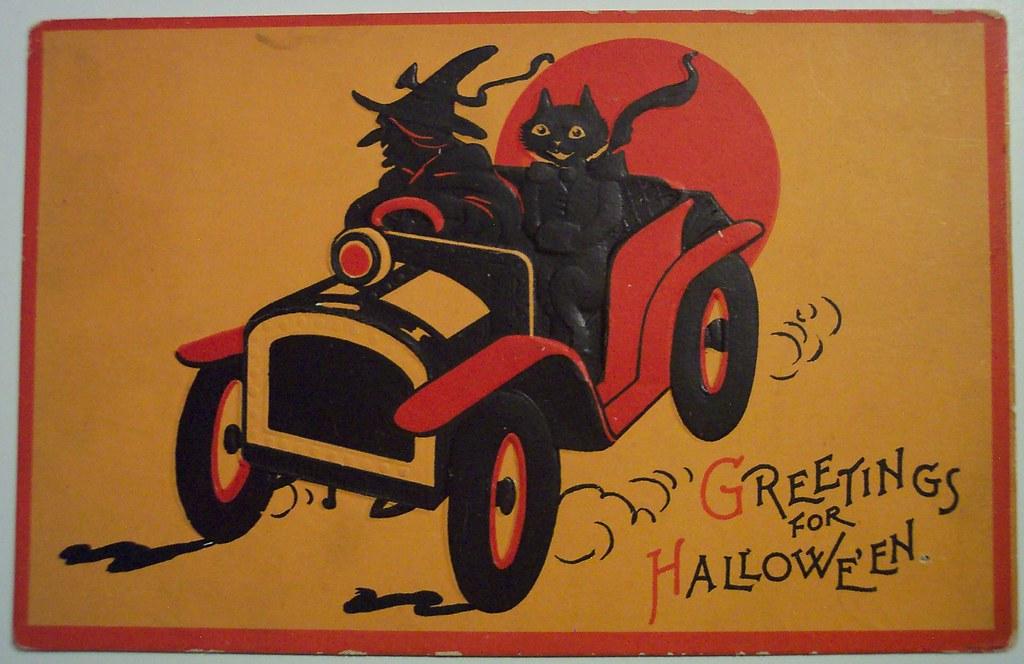Vintage Halloween Postkarte Spielkarte