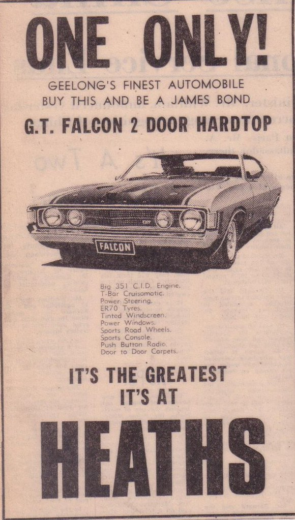 1972 ford xa falcon gt hardtop ad returning of the ford