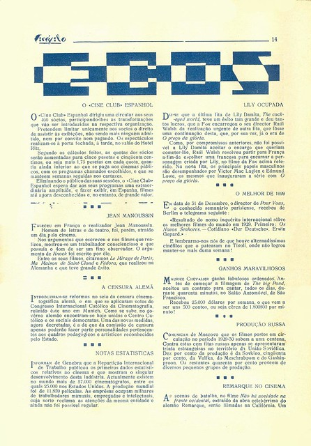 Cinéfilo, No. 73, January 11 1930 - 13