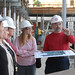 Library Dean Paul Adalian gives library staff tour of construction site.