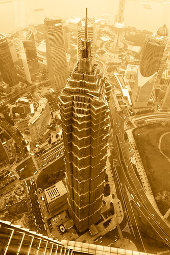 Jin Mao Tower as viewed from the observation level of the Shanghai World Financial Center | by ToastyKen