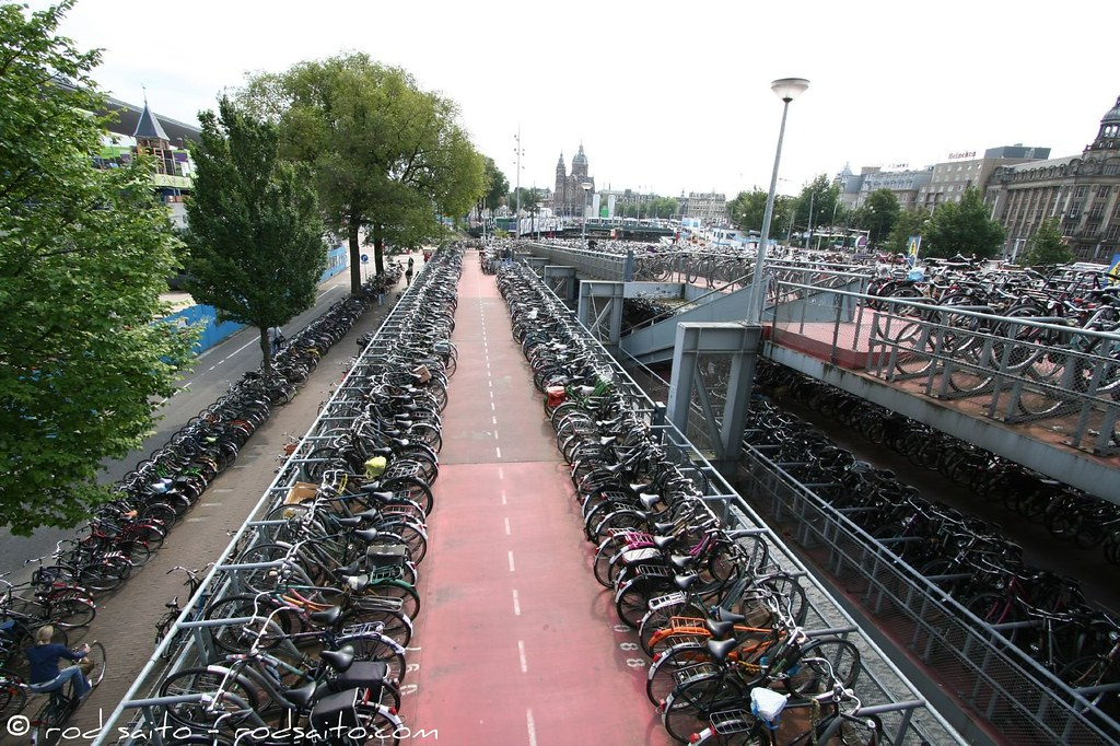 Bicycle Parking Lot Amsterdam Central Station Top Of