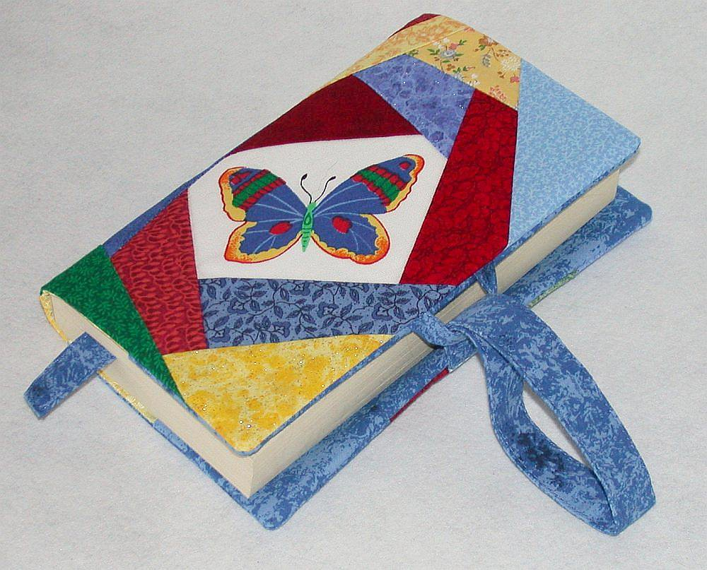 Handmade Fabric Book Covers : Patchwork fabric book cover i used a commercial