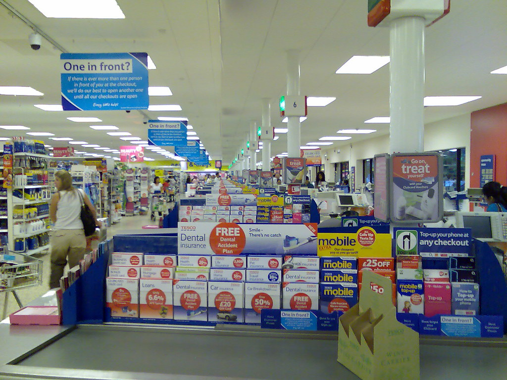 Tesco Colney Hatch - Long line of checkouts in Tesco ...