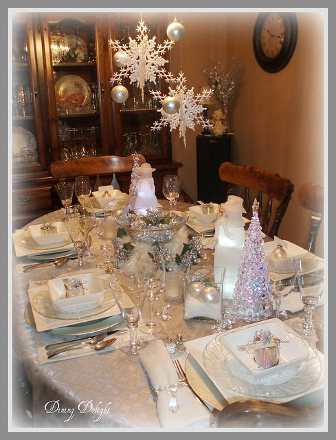 Winter Christmas Tablescape A Snowman And Snow Woman