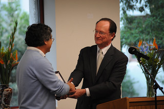 President Richard Rush presents Professor Dennis Muraoka with the Quality Improvement Program award at the 2009 Celebration of Faculty Accomplishments | by California State University Channel Islands