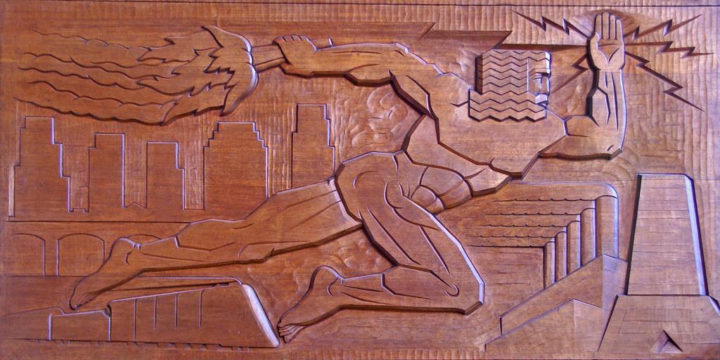 Lane tech library deco art carved mahogany panel