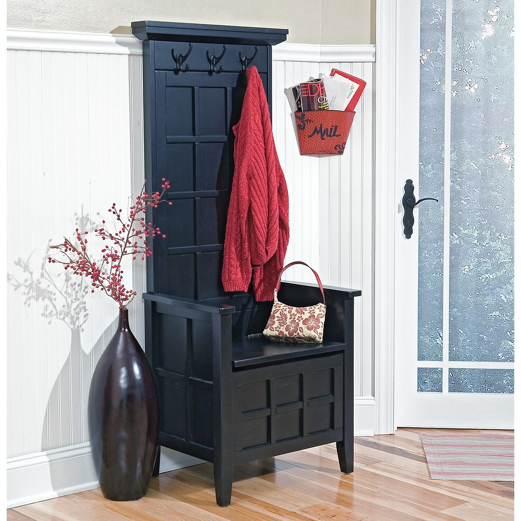Home Styles Regina Black Narrow Hall Tree And Storage Benc
