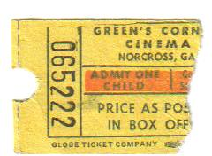 GREEN'S CORNER CINEMA TICKET STUB | by -WHITEFIELD-