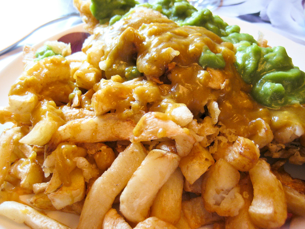 Fish, Chips, Peas, Curry Sauce and Scraps! | Tonight's dinne… | Flickr