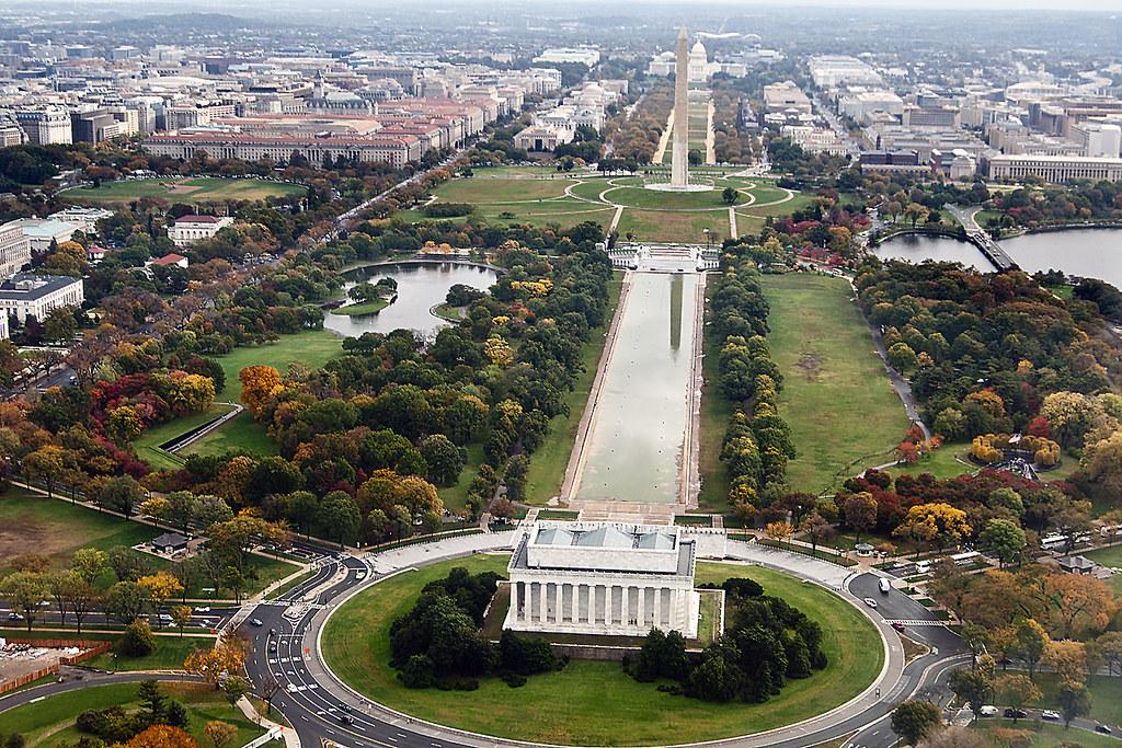 Washington Dc Reflecting Pool And Mall Aerial Views