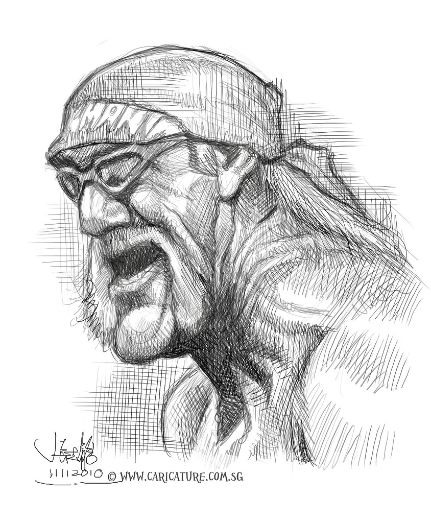 digital caricature sketch of hulk hogan www caricature c u2026 flickr