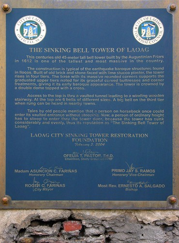 Marker of the Sinking Bell Tower of Laoag