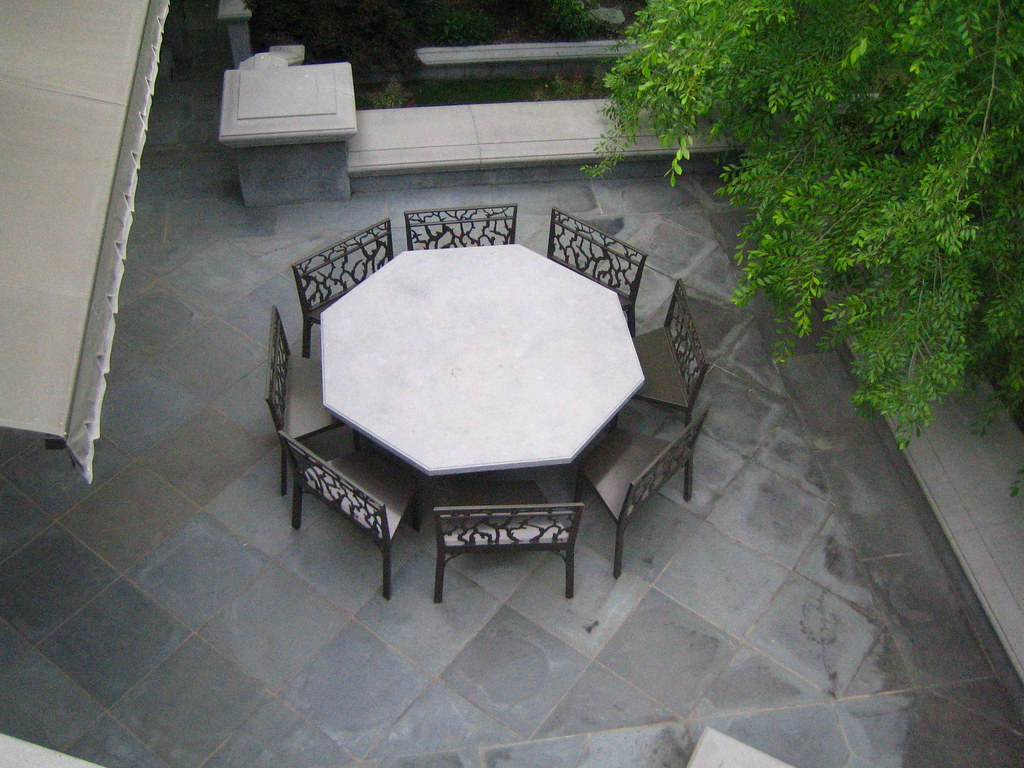 Outdoor Dining Table With Natural Stone On Top